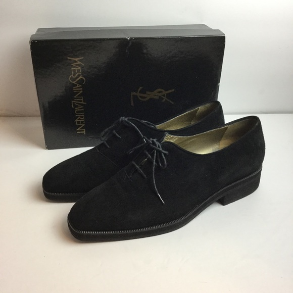 f8fd3a267b5 Yves Saint Laurent Shoes | Vintage Ysl 90s Black Suede Lace Up ...